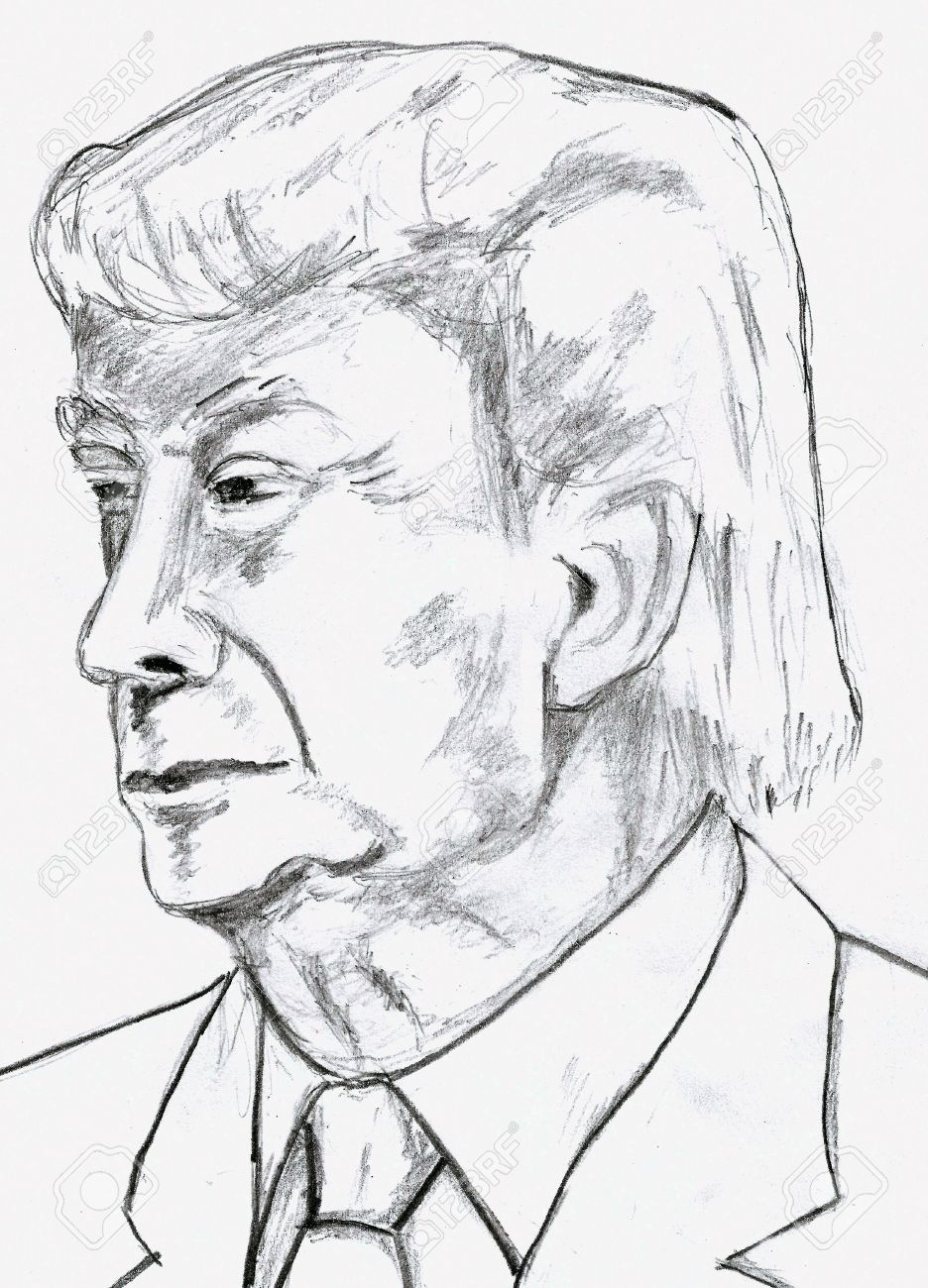936x1300 Donald Trump Pencil Sketch Stock Photo, Picture And Royalty Free