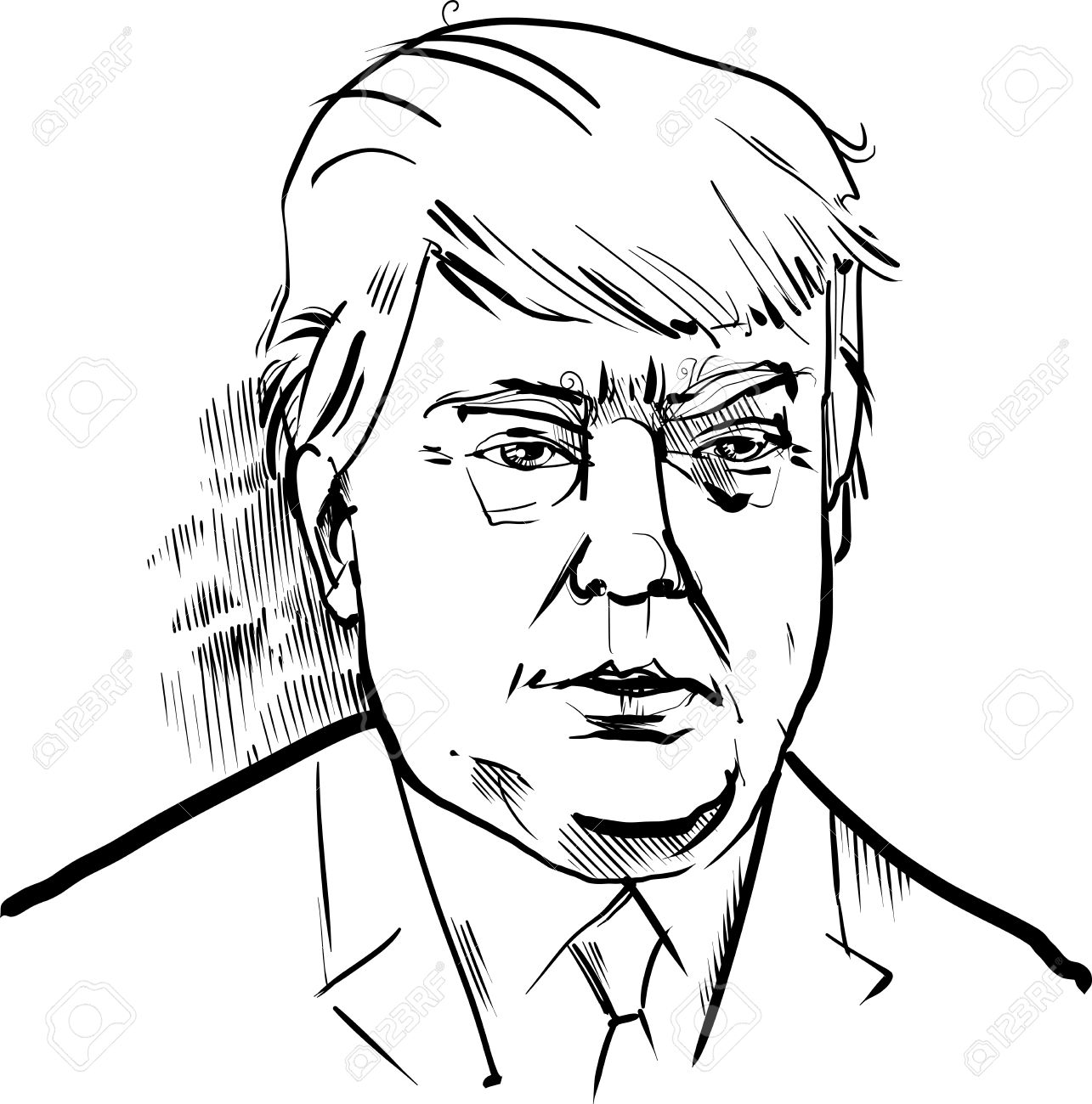 1285x1300 Black And White Drawing Caricature Portrait Of Donald Trump Usa