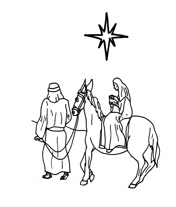 600x704 Drawing Mary And Donkey Coloring Pages Drawing Mary And