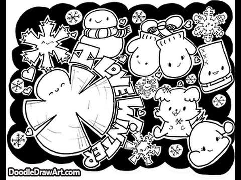 480x360 Doodle Coloring Page Kawaii Winter Doodles