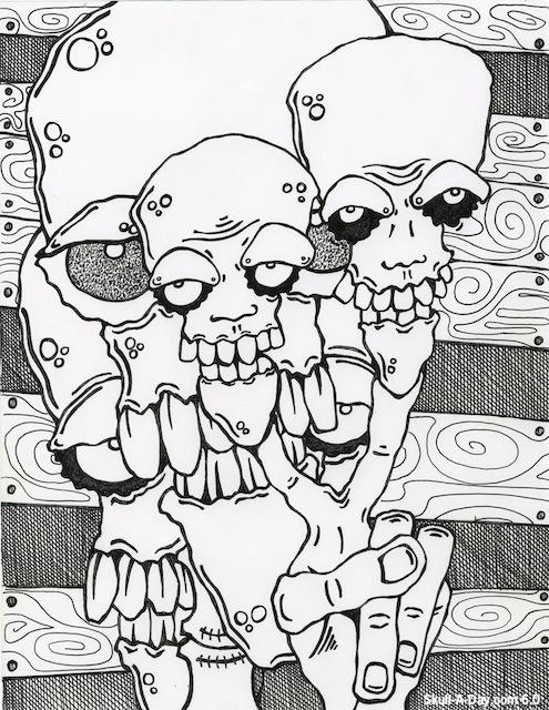 495x640 Doodle Skulls