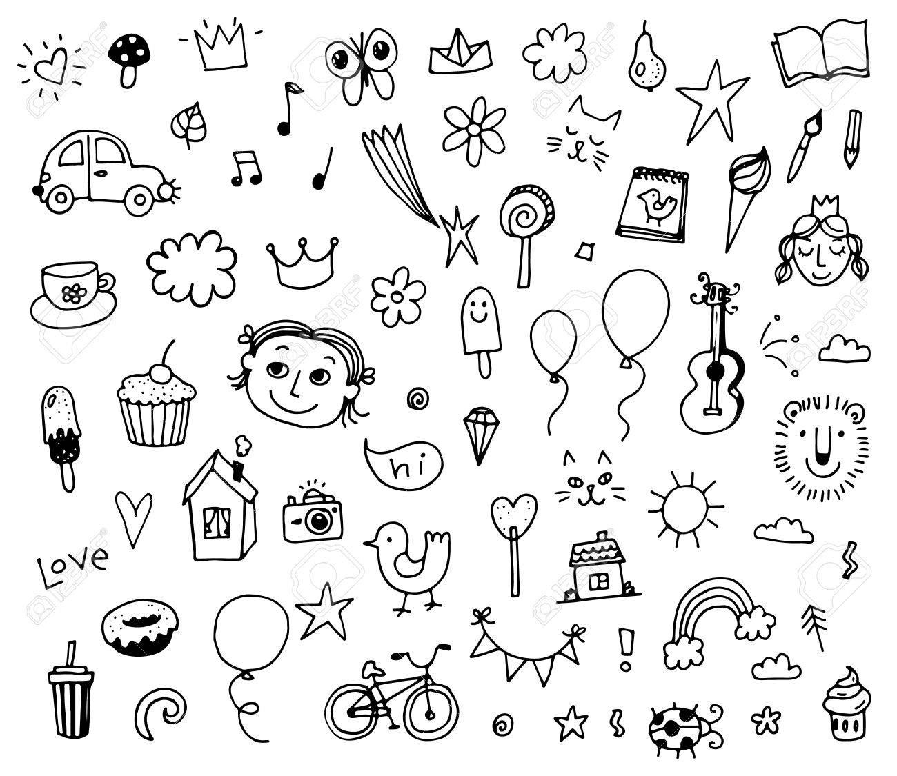 1300x1125 Set Of Various Doodles, Children Drawing Sketches. Illustration
