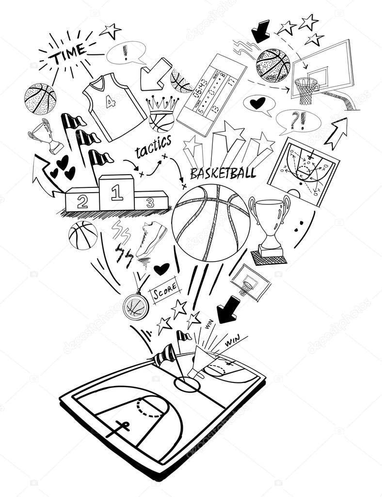 788x1024 Basketball Doodles Hand Drawing Stock Photo Efks