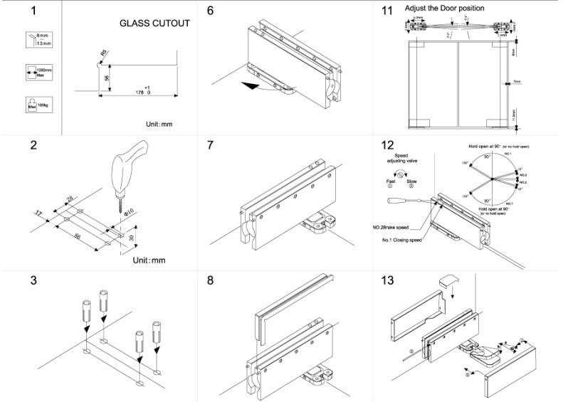 805x565 Hot New Design Concealed Glass Door Floor Hinge View