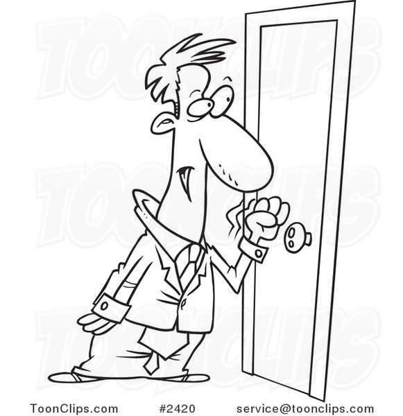 door clipart black and white. 581x600 Cartoon Black And White Line Drawing Of A Business Man Knocking On Door Clipart