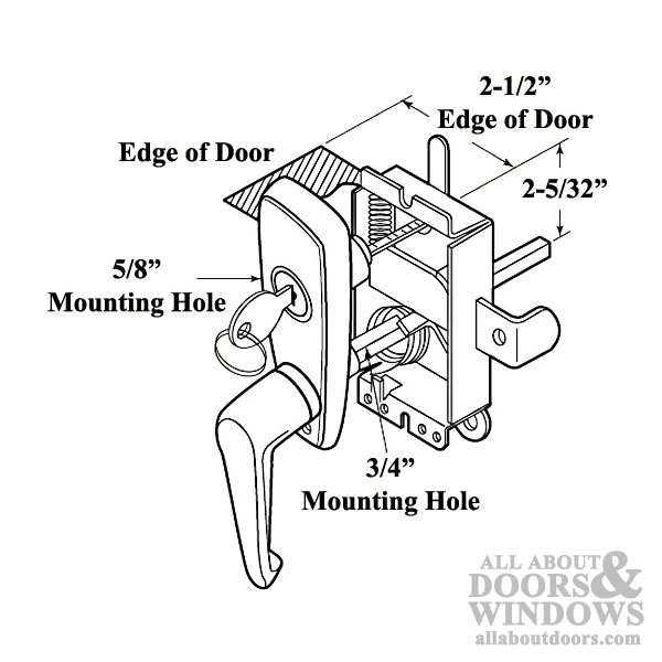 600x600 Handle And Locking Unit For Garage Door