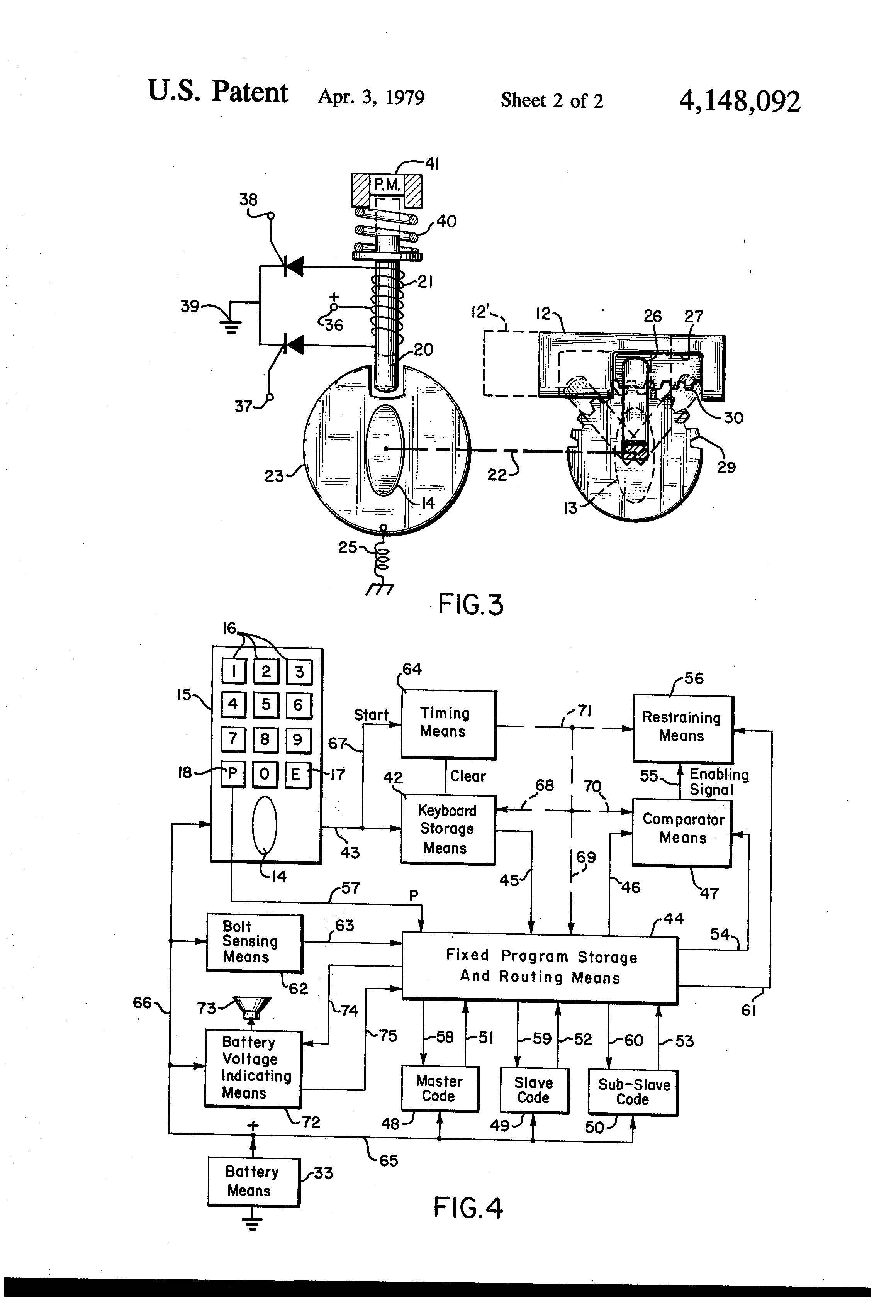 Door Lock Drawing At Free For Personal Use Honda Civic Central Locking Wiring Diagram 2320x3408 Patent Us4148092 Electronic Combination With Dead Bolt