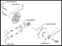 236x176 Deadbolt Door Lock Parts Identification Diagram Door Lock