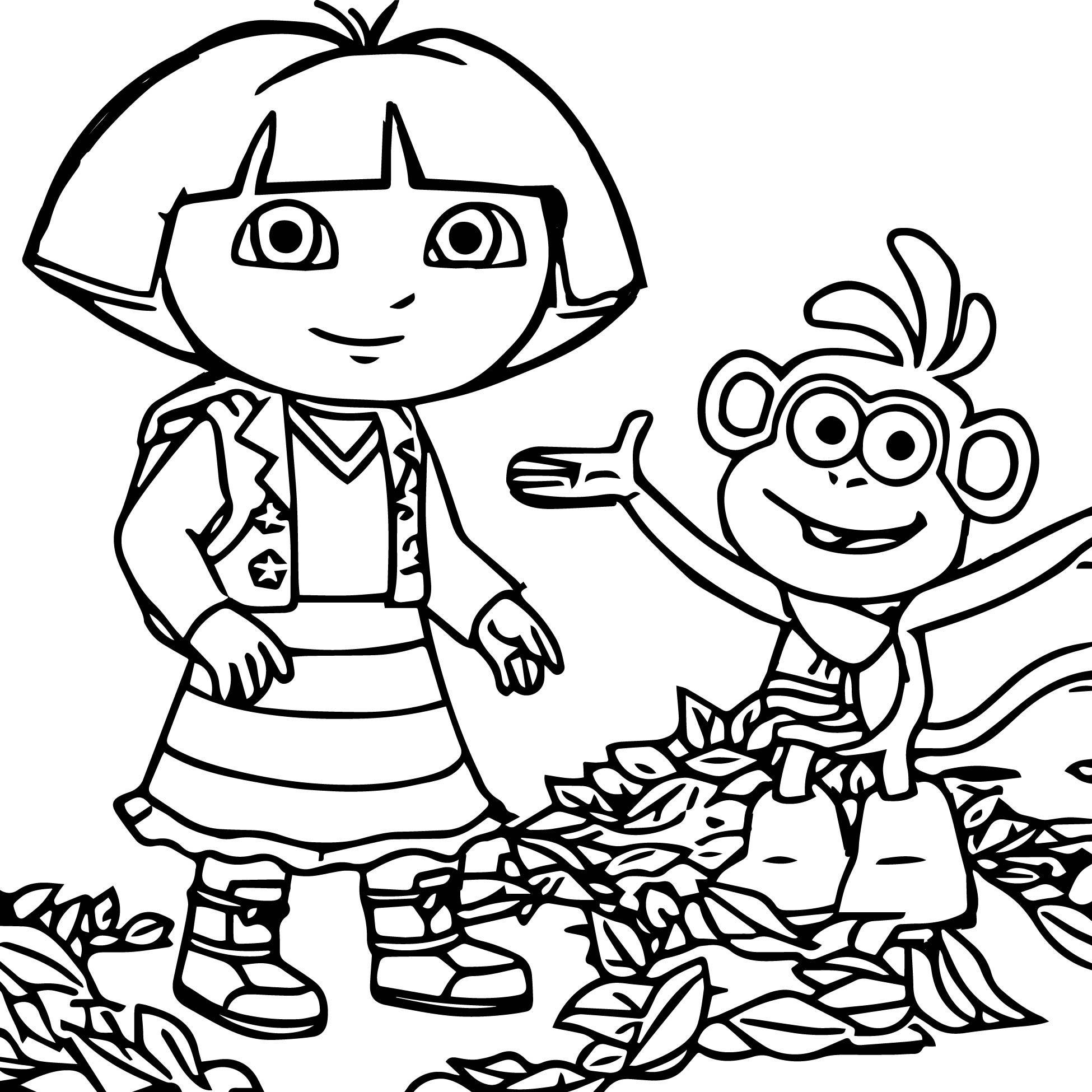 1950x1950 Dora Playing With Friends Coloring Page