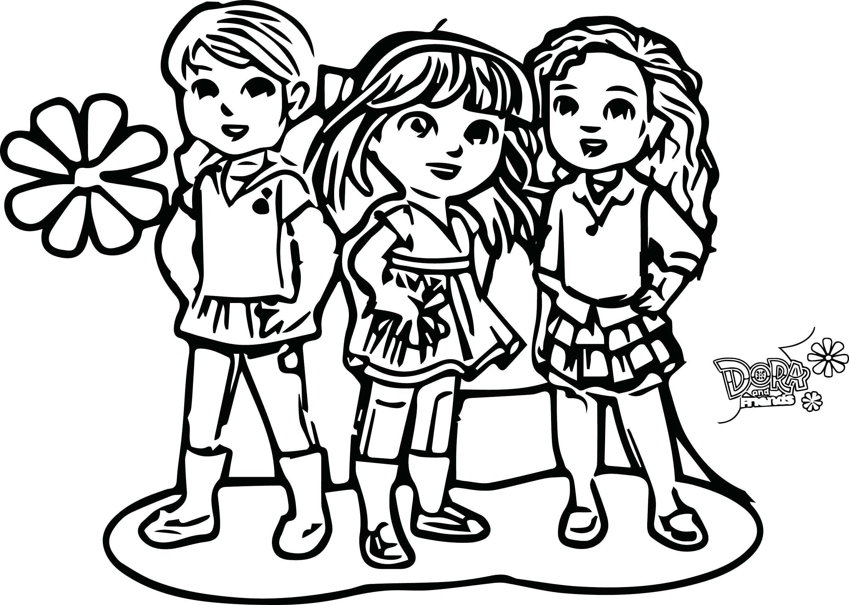 2701x1925 Dora Playing With Friends Coloring Page In Snazzy Image And Pages