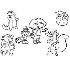 230x230 Dora Playing With Friends Coloring Page Preschool In Fancy Draw