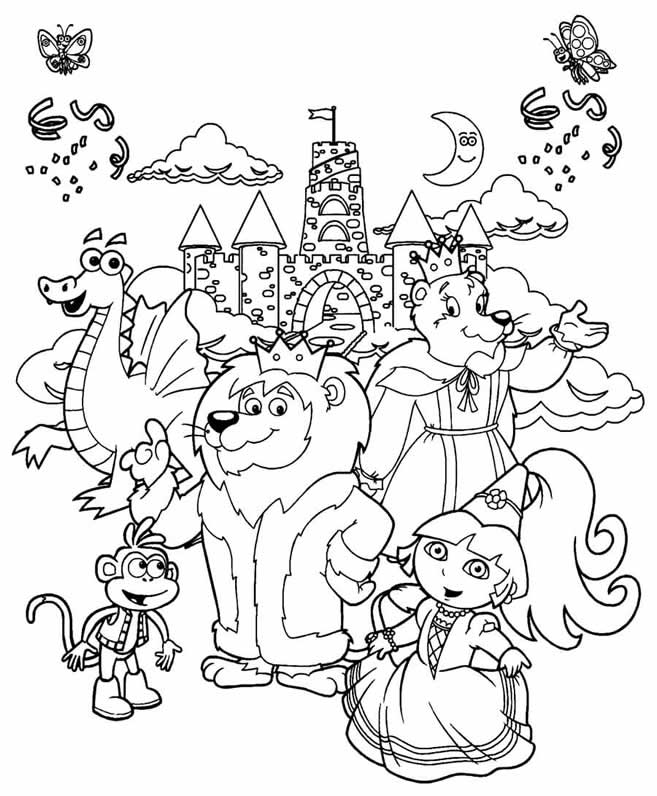 657x796 Dora The Explorer Coloring Pages Dora And Friends