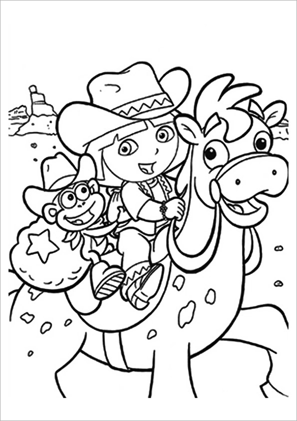 585x828 Dora Coloring Pages Free Printable Word, Pdf, Png, Jpeg, Eps