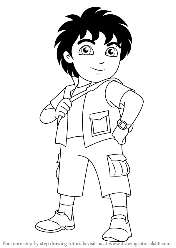 598x844 Learn How To Draw Diego From Dora The Explorer (Dora The Explorer