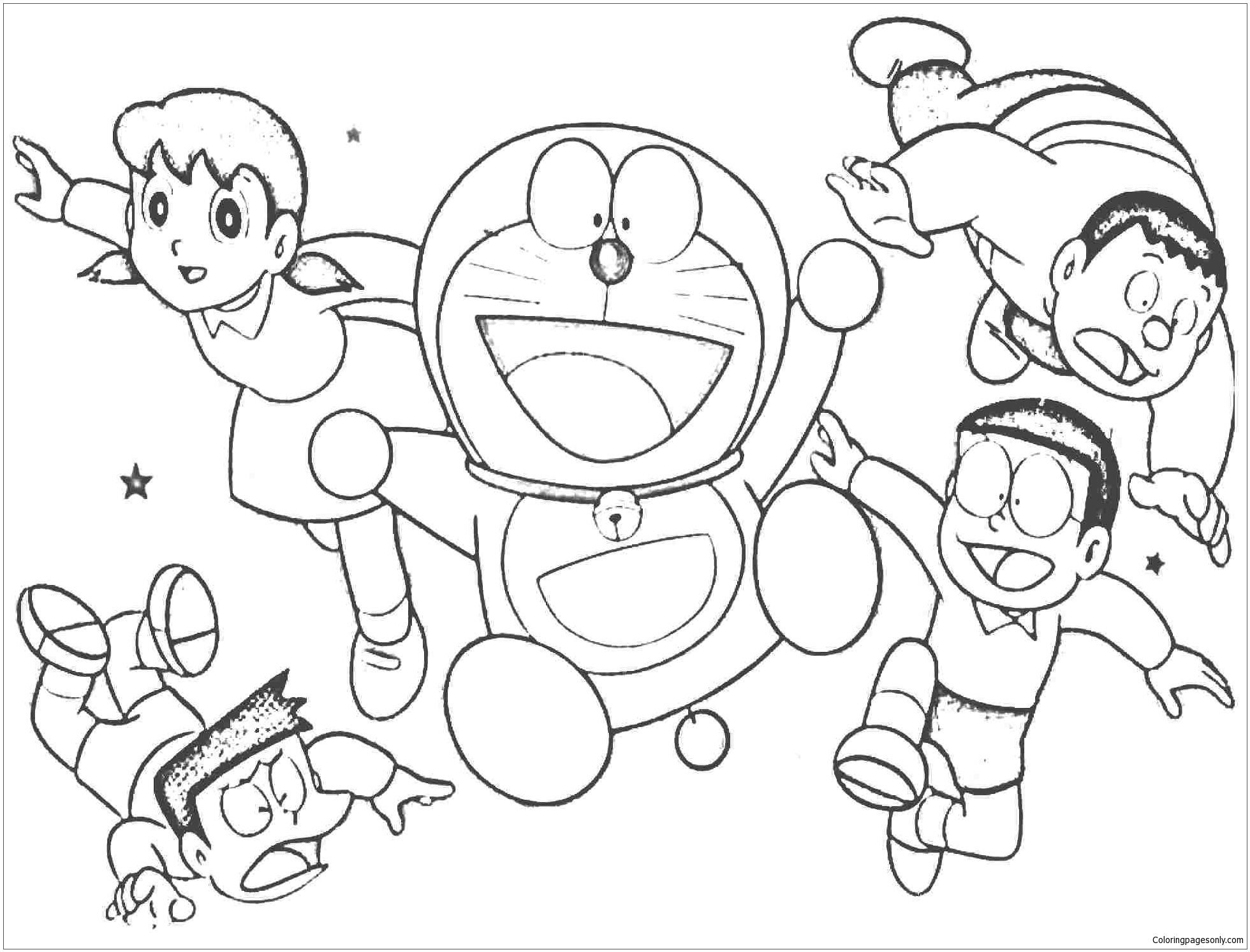 1960x1494 Cheerful doraemon with his friends Coloring Page