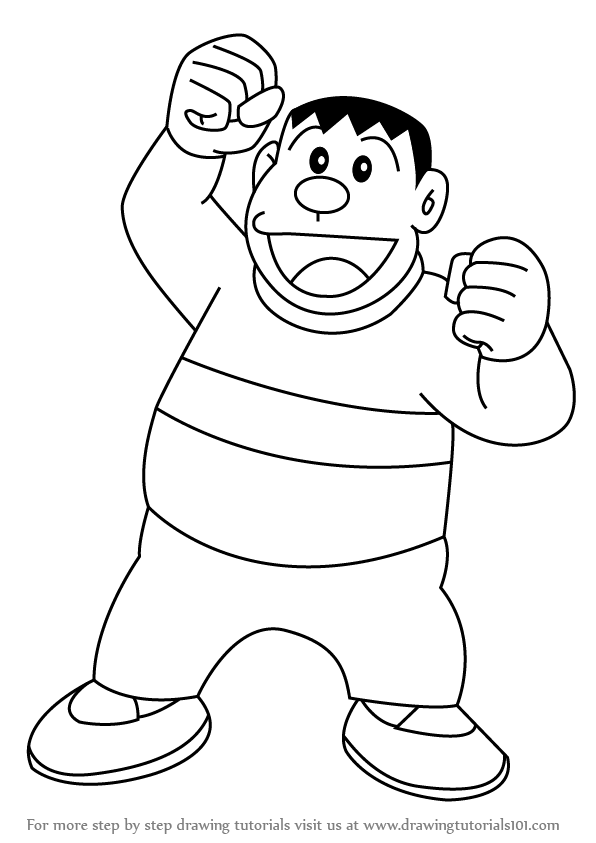 596x843 Learn How To Draw Gian From Doraemon (Doraemon) Step By Step