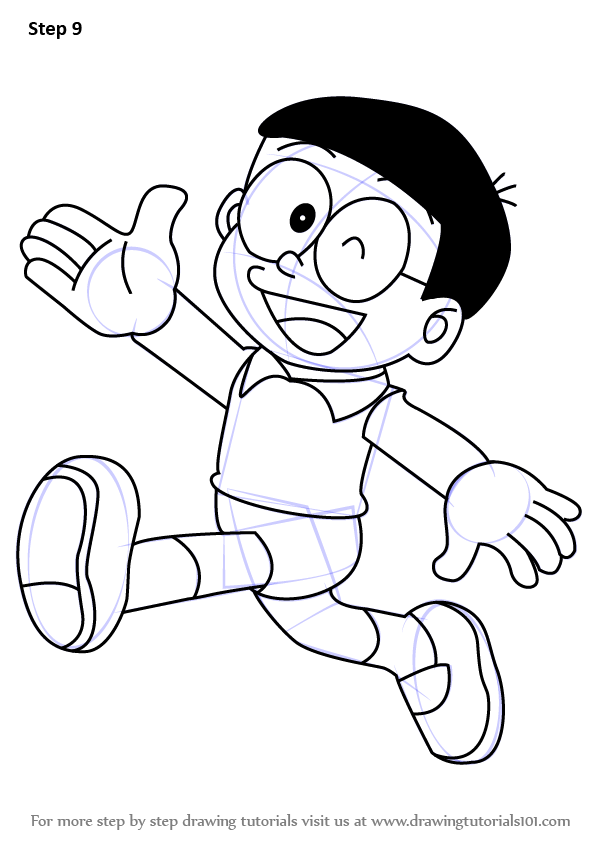 596x843 Learn How To Draw Nobita From Doraemon (Doraemon) Step By Step