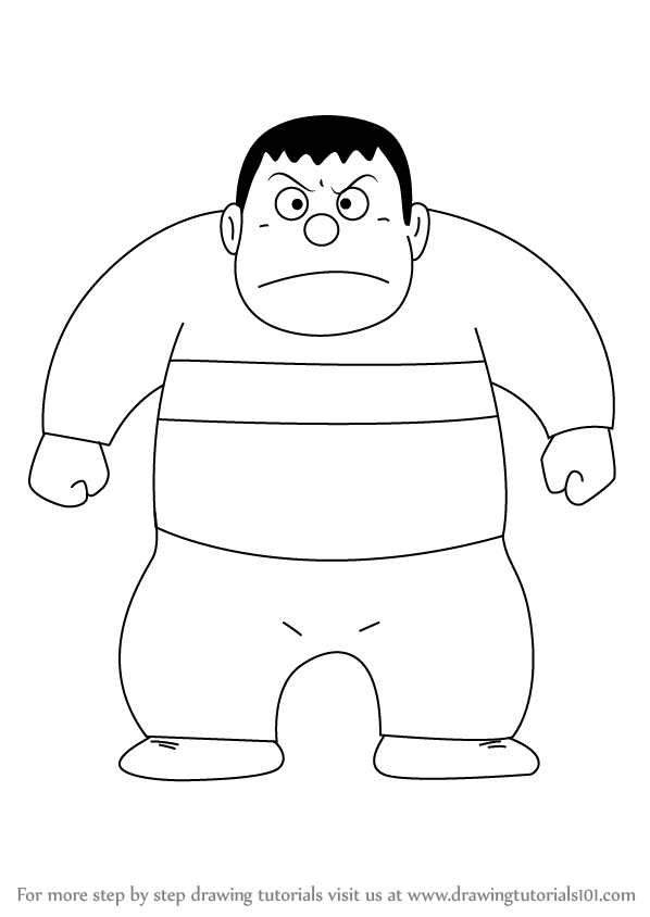 598x844 Learn How To Draw Takeshi Gouda From Doraemon (Doraemon) Step By