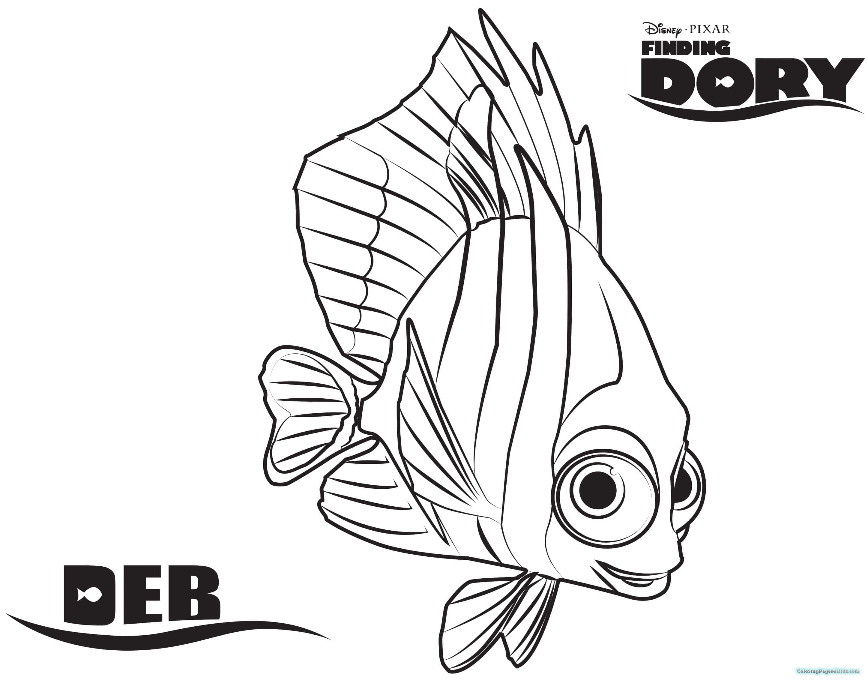 2884x2267 Finding Dory Coloring Pages Purple Shells For Kids