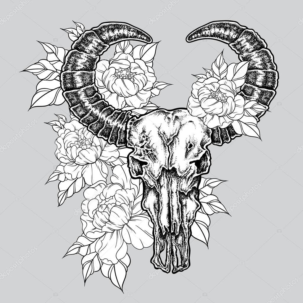 1024x1024 Hand Drawn Dot Work Tattoo Buffalo Skull With Flowers. Native
