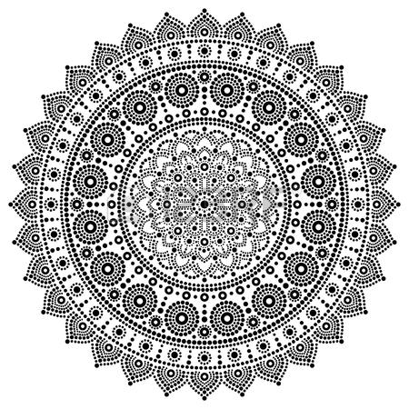 450x450 Mandala Bohemian Vector Dot Painting, Aboriginal Dot Art, Retro