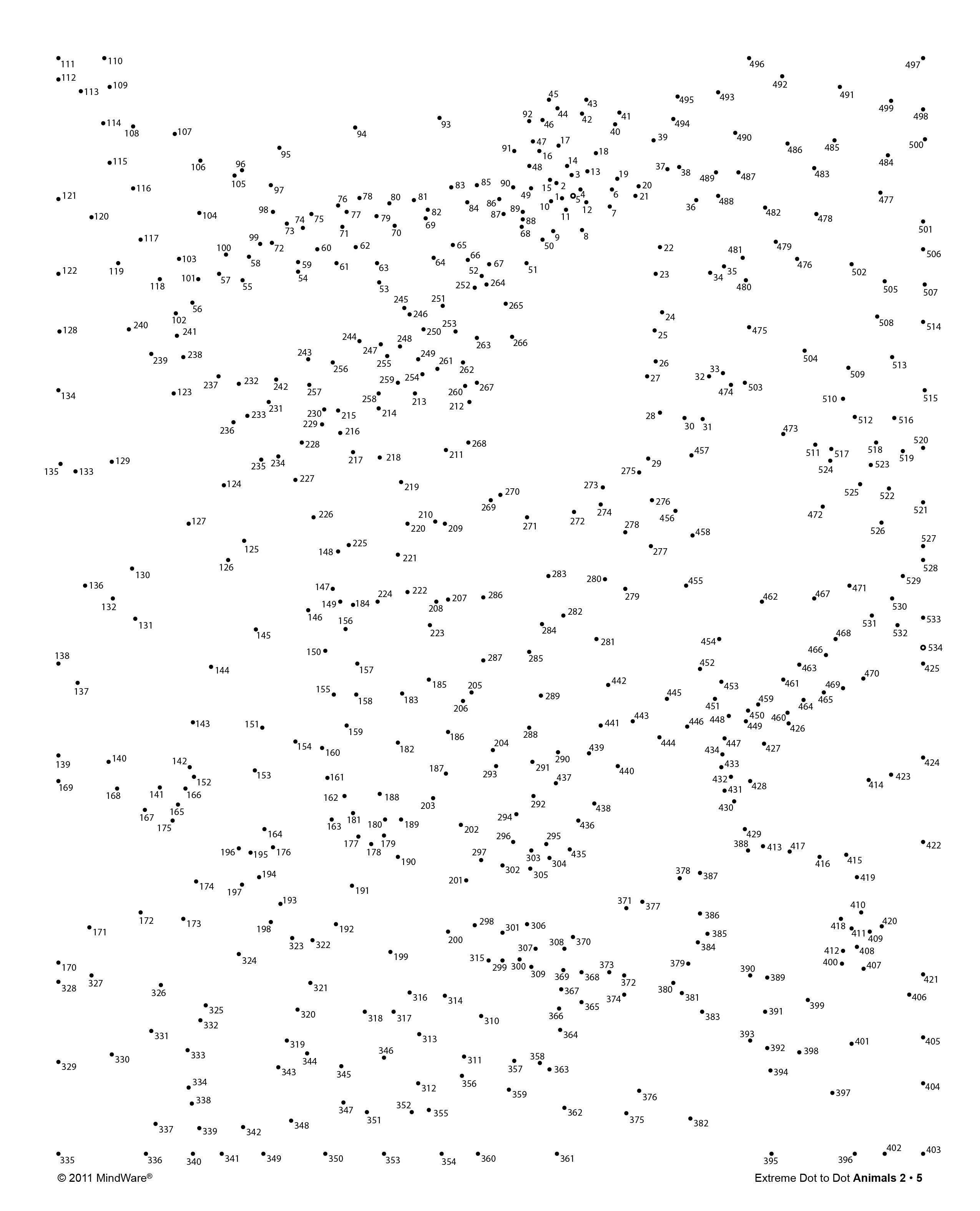2550x3150 Try out a page from MindWare#39s Extreme Dot to Dot Animals 2 book