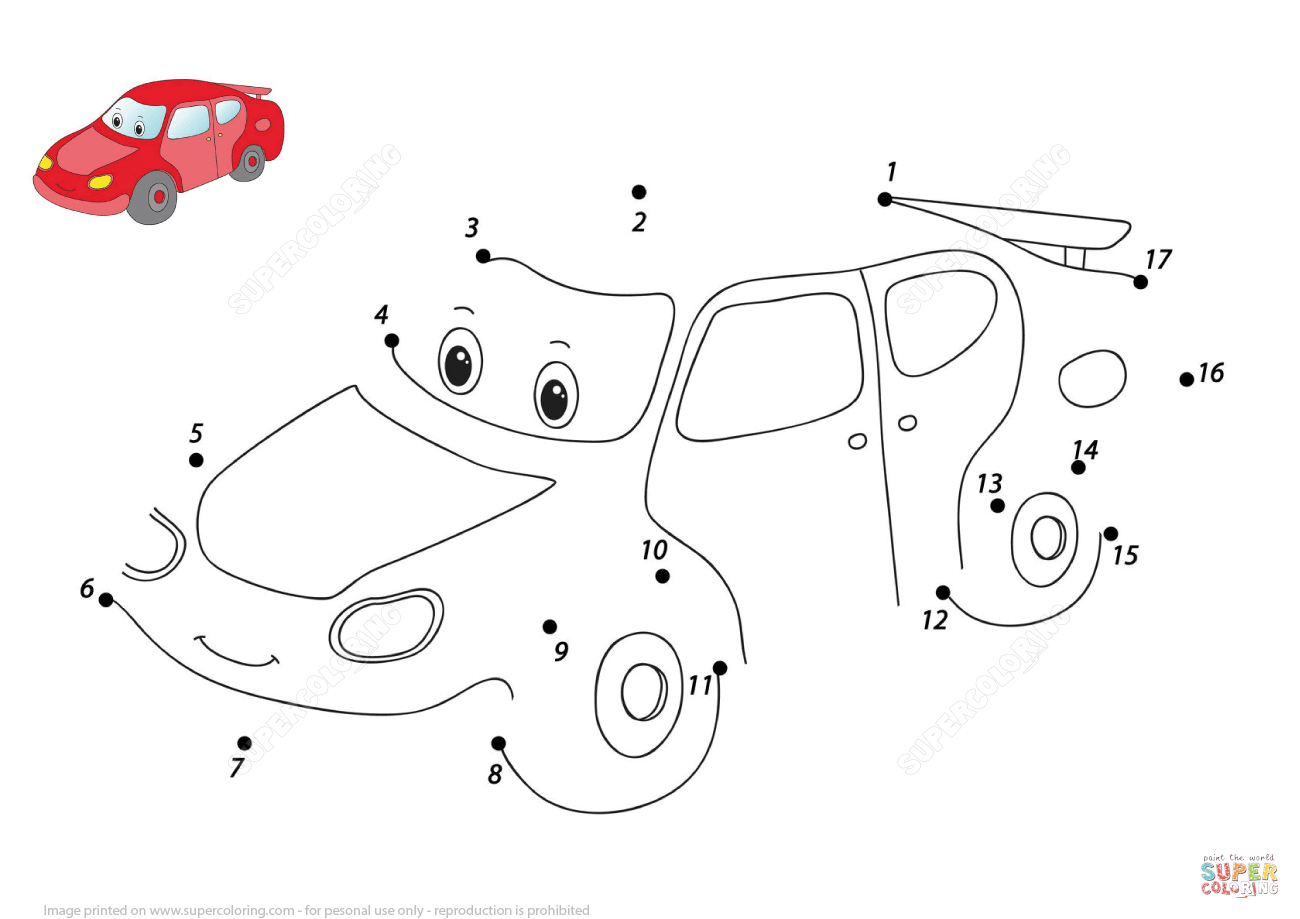 1300x919 Funny Cartoon Car Dot To Dot Free Printable Coloring Pages
