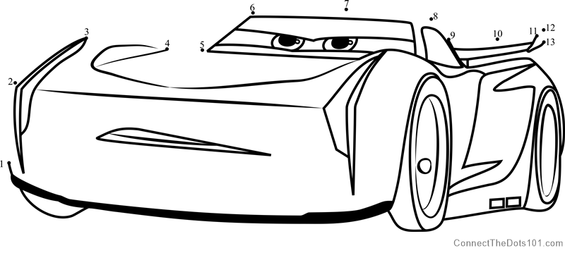 800x359 Jackson Storm From Cars 3 Dot To Dot Printable Worksheet