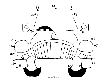 364x281 Printable Cartoon Car Dot To Dot Puzzle