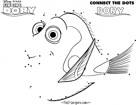 438x338 Printable Finding Dory Connect The Dots Disney Page For Kids