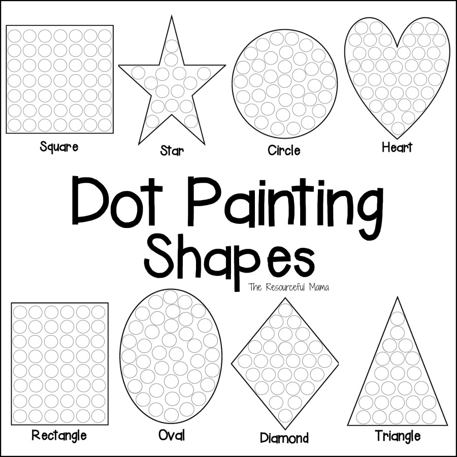 900x900 Shapes Dot Painting {Free Printable}