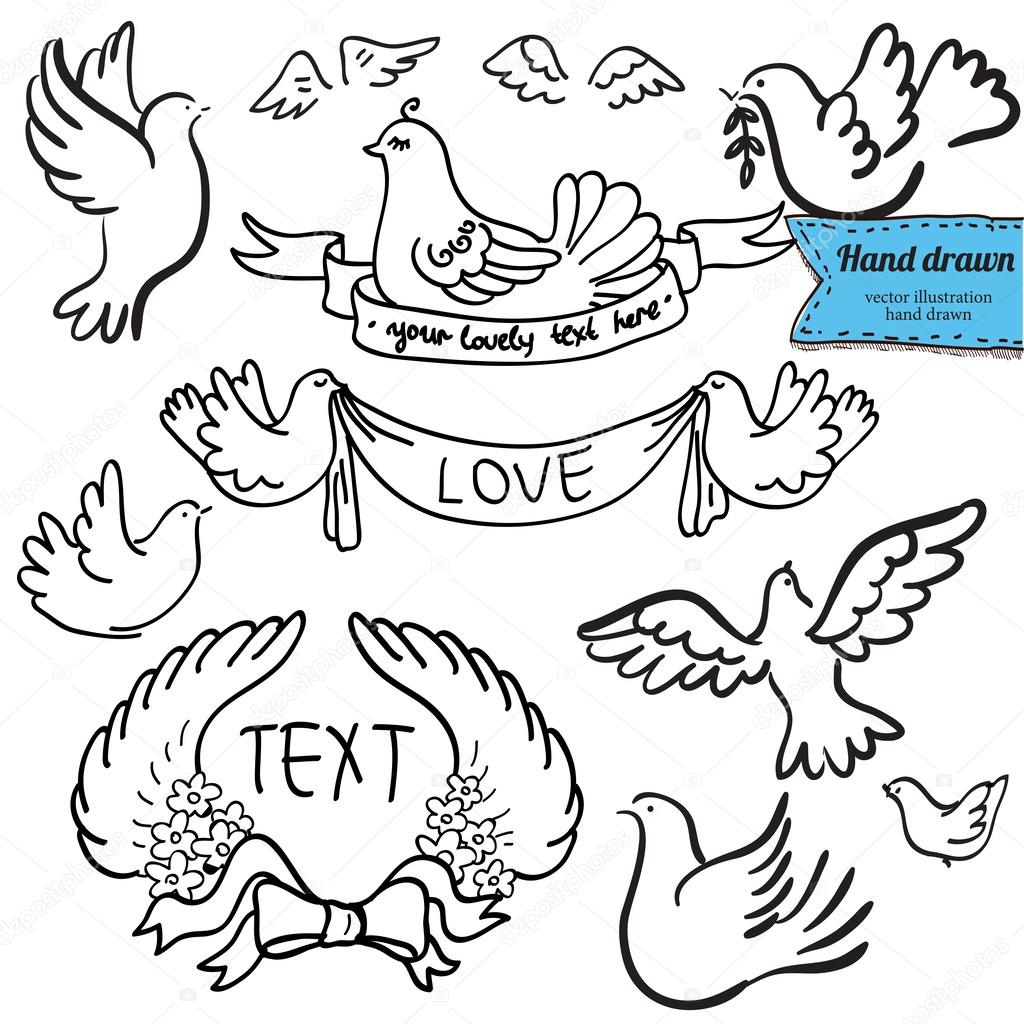 1024x1024 Dove Set With Label Hand Drawn On White Background Stock Vector