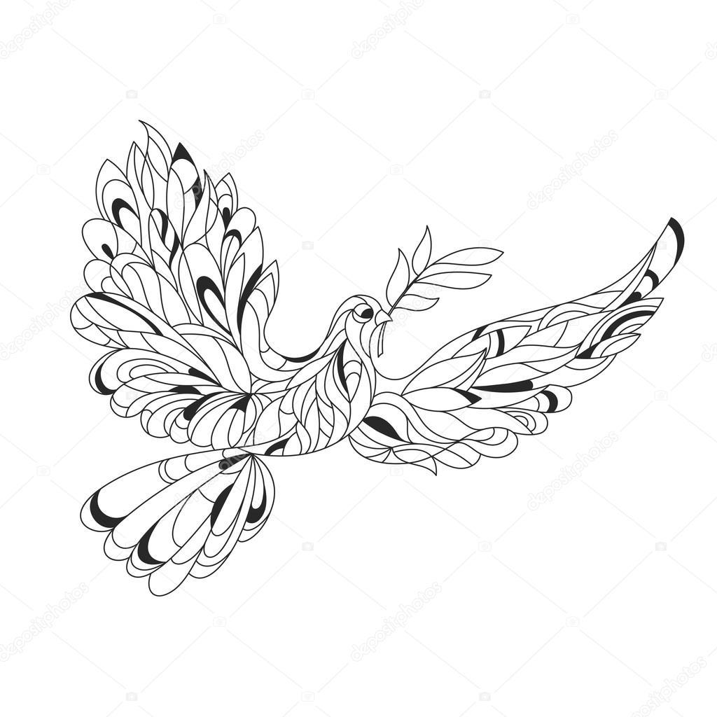 1024x1024 Vector Monochrome Hand Drawn Zentagle Illustration Of Peace Dove