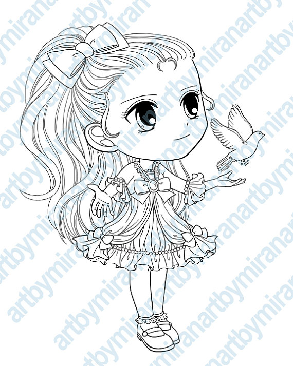 570x713 Digital Digi Stamps, Big Eye Doll Coloring Page, Girl With Dove