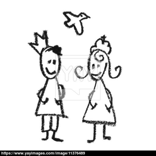 512x512 King And Queen With Flying Dove Doodles Drawing. Image