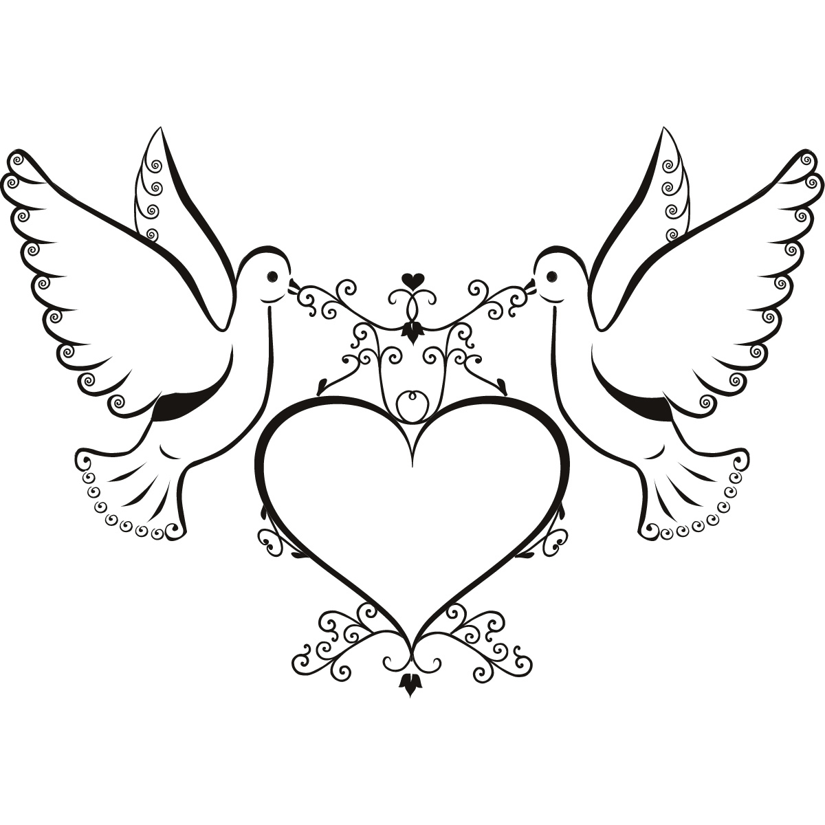 1200x1200 Dove Line Drawing Clip Art
