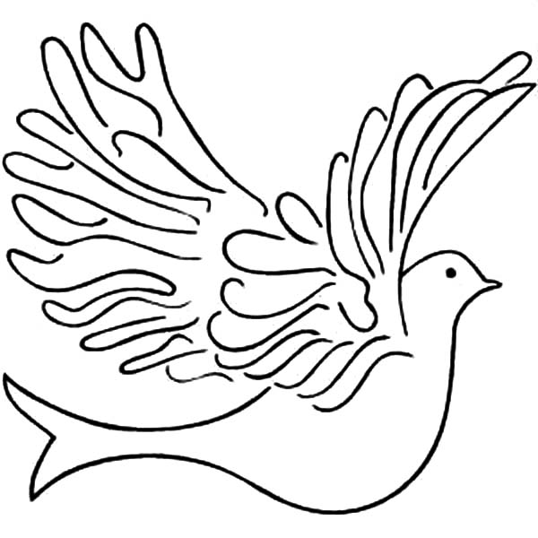 600x600 Big Dove Coloring Page Bird Floating Pages