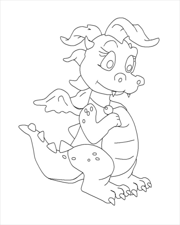 585x730 Dragon Drawing Template Free Pdf Documents Download! Free