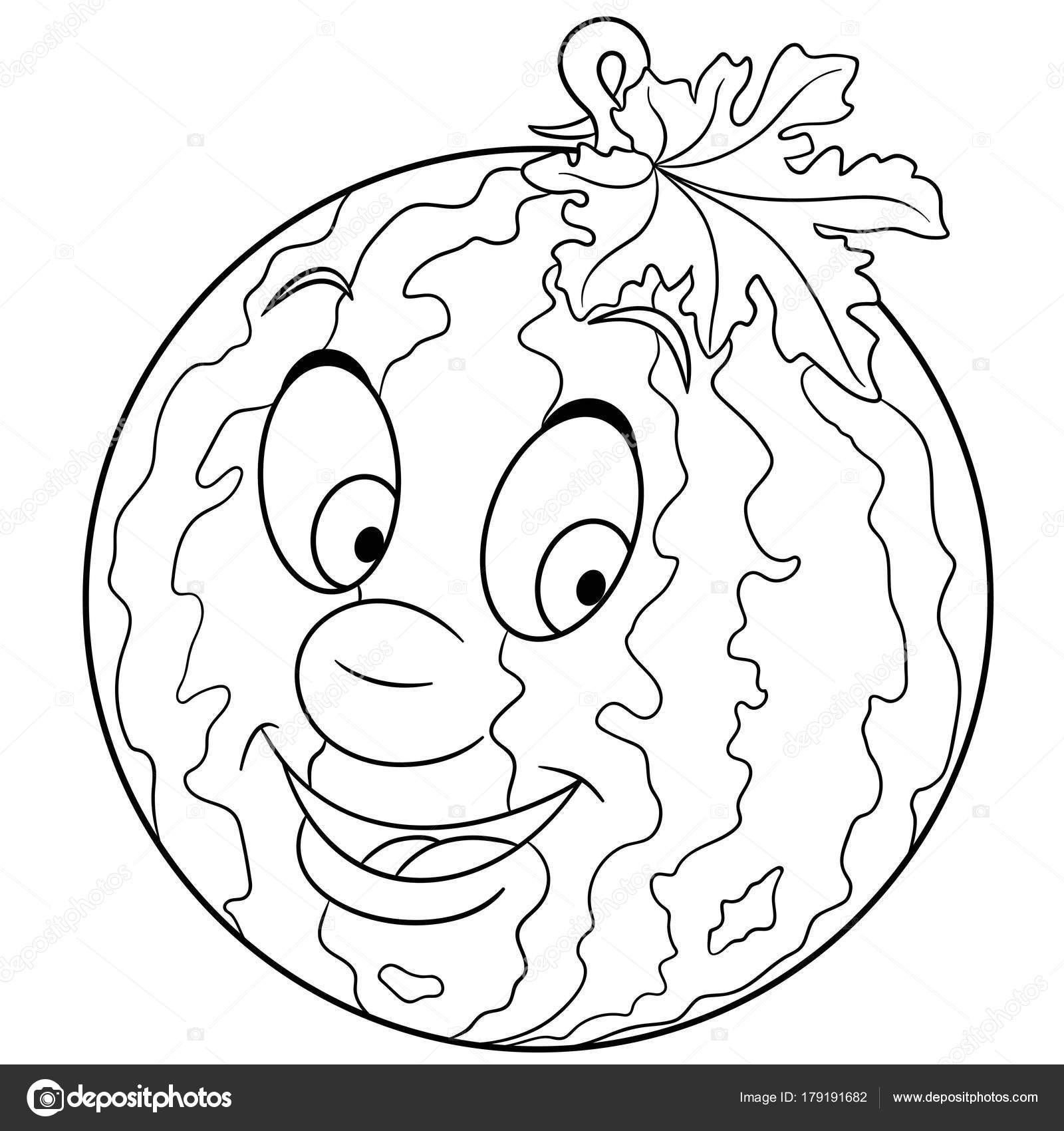 1600x1700 Coloring Book Coloring Page Cartoon Watermelon Character Happy