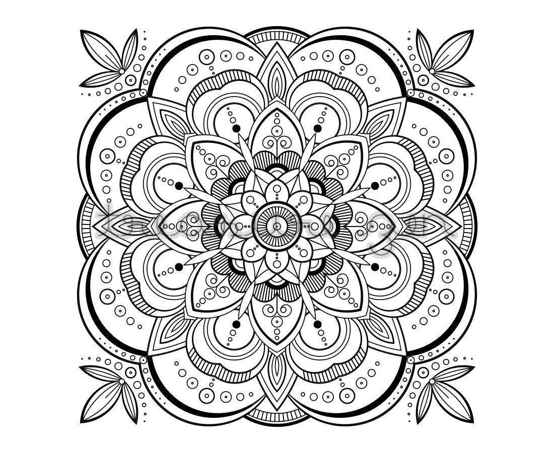 1100x900 Printable Adult Coloring Book Page, Pdf Mandala Coloring Book Page