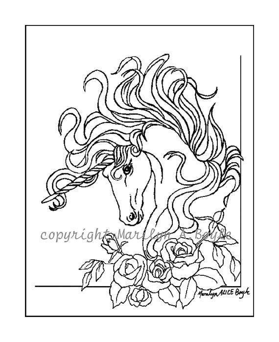 570x698 Adult Coloring Page, Digital Download, Unicorn, Roses, Garden