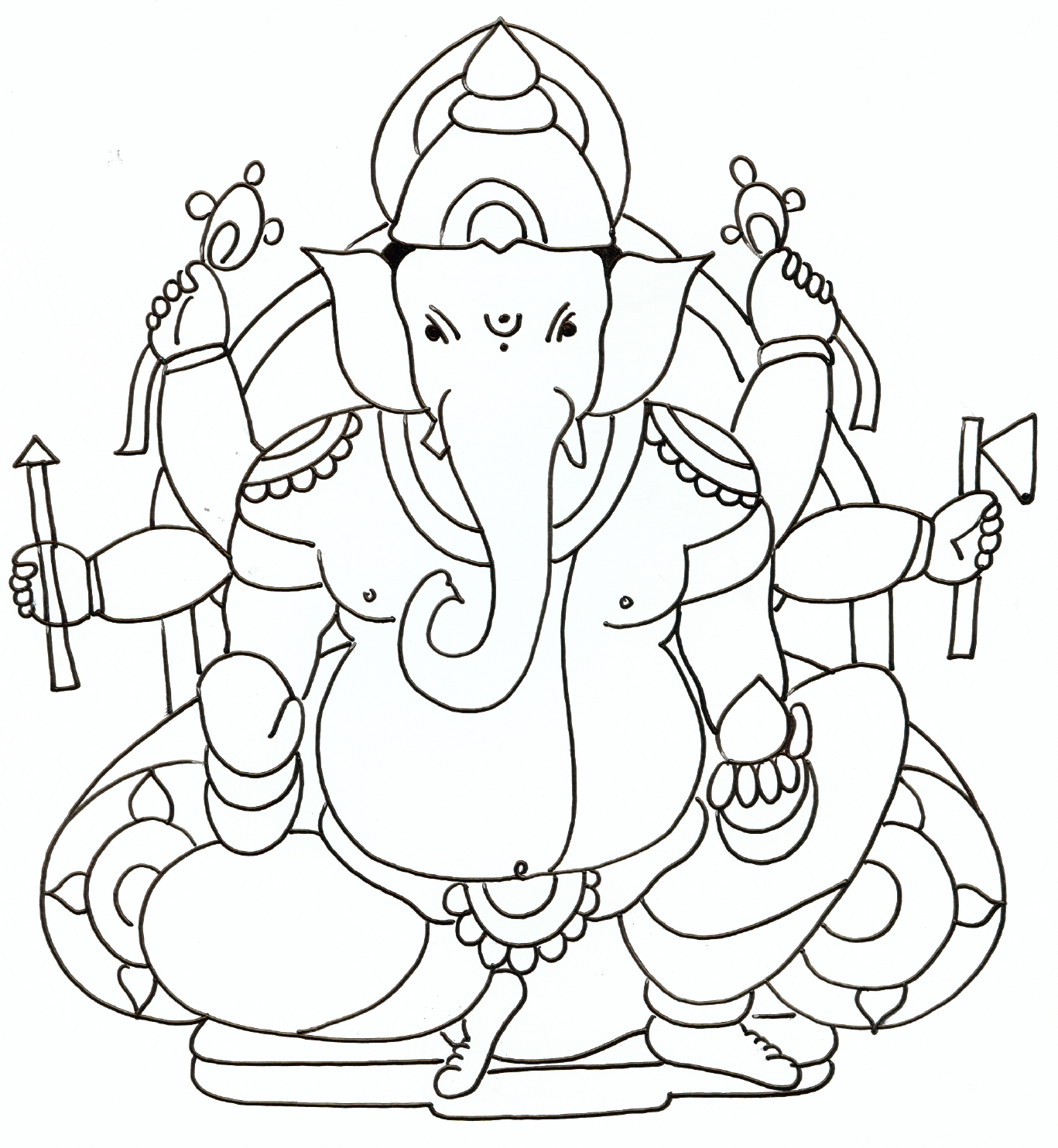 1367x1484 Gallery Ganesha Drawing For Kids,