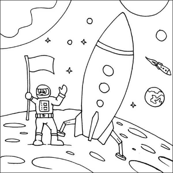600x600 A Kids Drawing Of Astronaut And His Space Shuttle Coloring Page