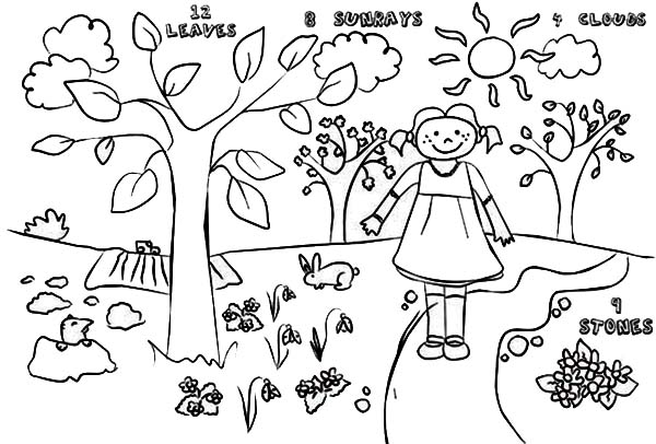 600x406 Kids Drawing Of Springtime Coloring Page