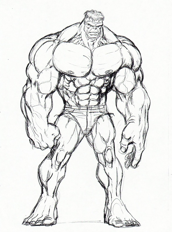 591x800 Drawing Of The Hulk Free Download