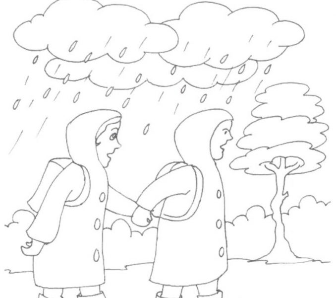 678x600 Rainy Season Drawing For Kids Kids Coloring