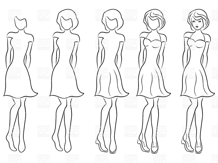 900x675 Sequence Of Hand Drawing Sketch Of A Beautiful Woman In Dress