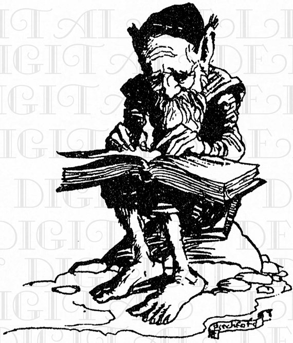 570x667 A Gnome And His Book Vintage Illustration. Reading Digital