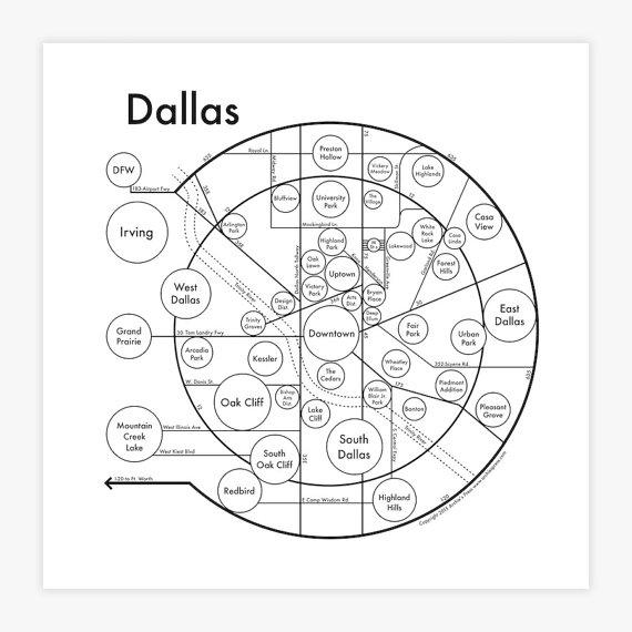 570x570 Dallas Map 17.5 X 17.5 Screenprint. Beautiful