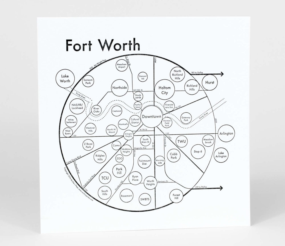 1000x861 Fort Worth Map Print Archie's Press